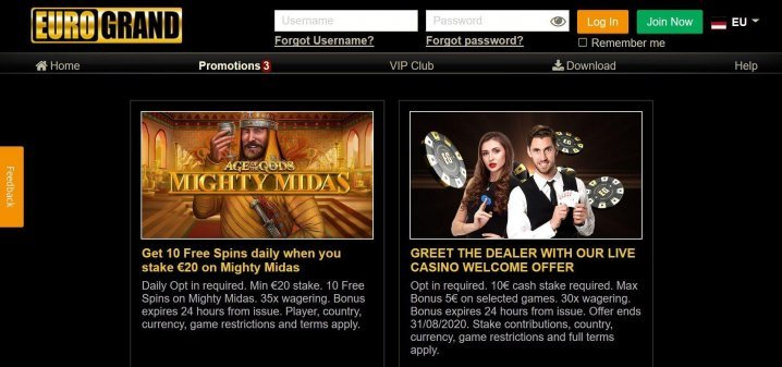 Eurogrand Casino 400% Bonus