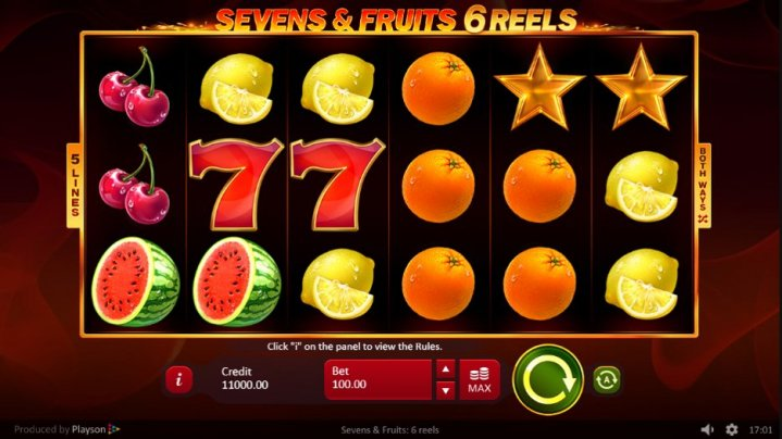 Sevens And Fruits 6 Reels Slot Machine